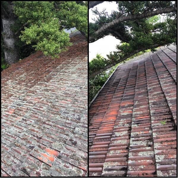 Before and after a roof clean on terracotta tiles