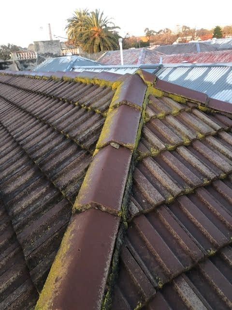 Broken and replaced tile roof